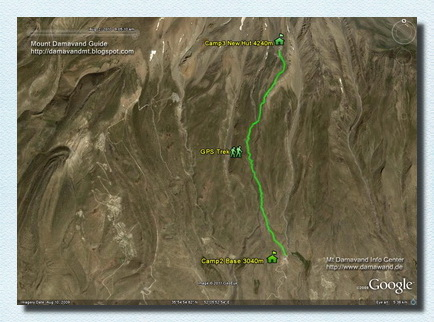 Damawand Camp2 to Camp3 GPS track and route map