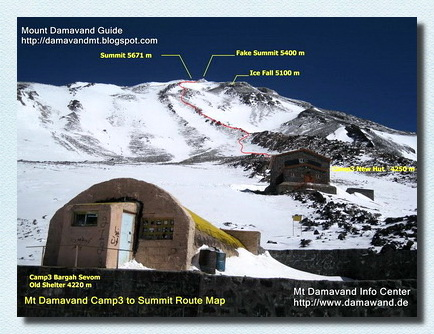 Damavand Camp3 old shelter and the new hut