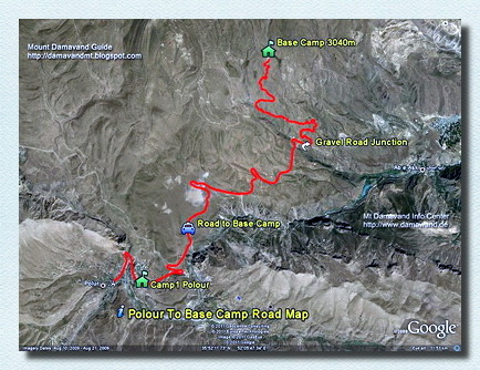 Damavand Camp1 to Camp2 GPS track and route map